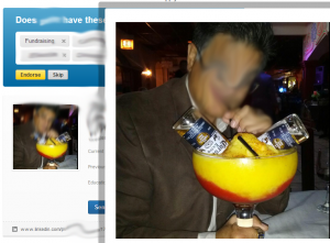 This LinkedIn profile image shows a man with a huge cocktail that has two bottles of beer being poured into it.