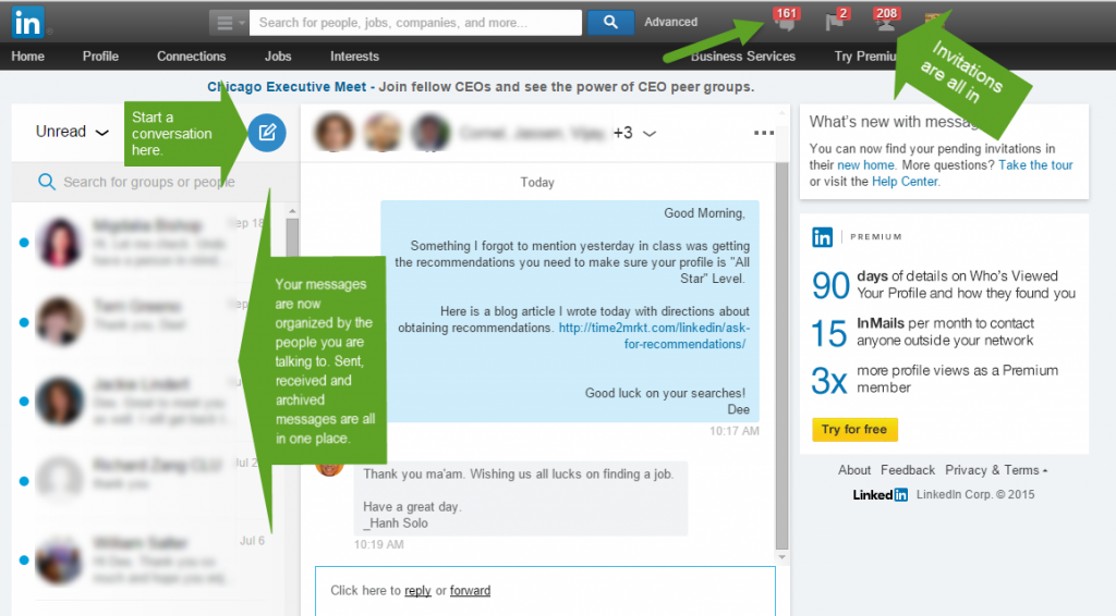 LinkedIn message changes
